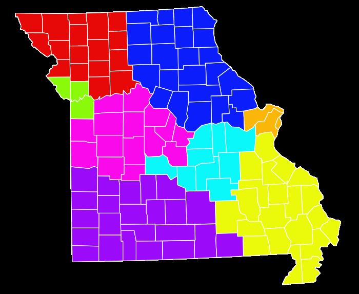Missouri Reginal Districts Map